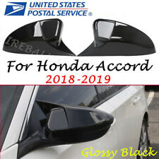 For Honda Accord 2018 2019 Glossy Black Ox Horn Rear View Mirror Cover Cap Trim Fits Honda