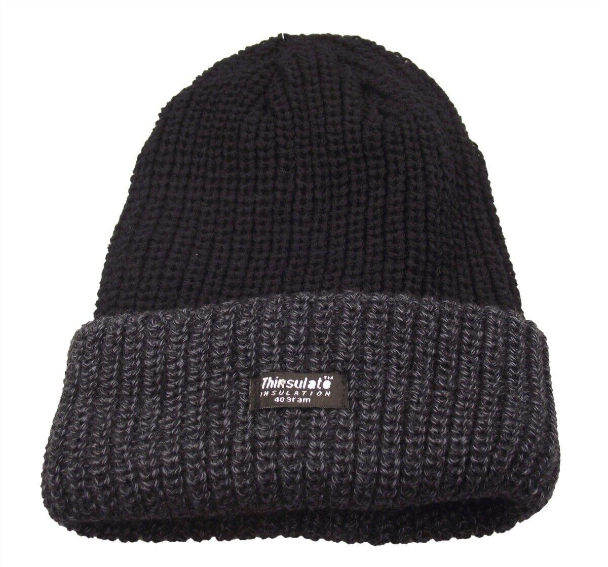 28ac7e83aa9 Mens Grey black Beanie Hat Chunky Knit Fleece Lined 3m Thinsulate ...