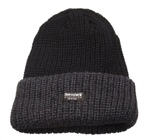 Mens Grey black Beanie Hat Chunky Knit Fleece Lined 3m Thinsulate ... e6819112418
