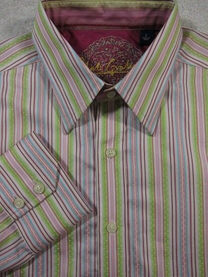 NEW Robert Graham Pink and Green Stripe Long Sleeve Cotton Shirt L 16.5x35