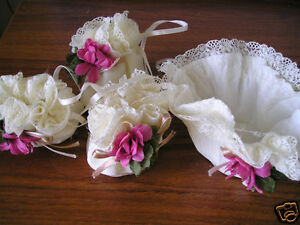 2-Sets-of-4-Beautiful-Lace-And-Flower-Chair-Table-Foot-Covers-Cream