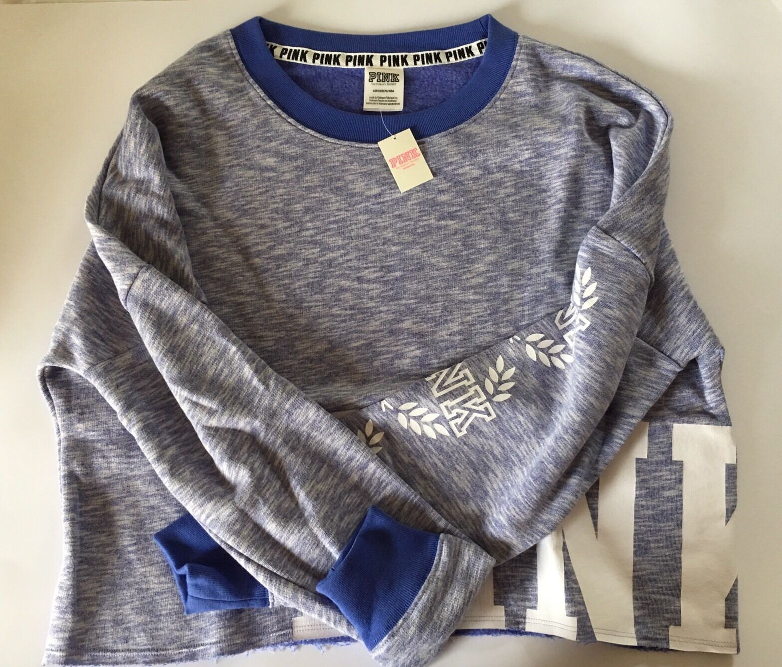 NWT Victoria's Secret PINK Cropped French Terry Varsity Crew Size S Matisse bluee