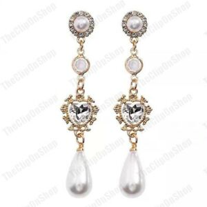 2-75-034-long-STUD-CLIP-ON-vintage-style-EARRINGS-pearl-CRYSTAL-heart-GOLD-FASHION