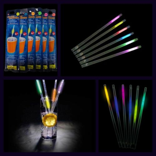 5 Packs GLOW STICK DRINKING STRAWS 30 Straws To Brighten Up Any Party
