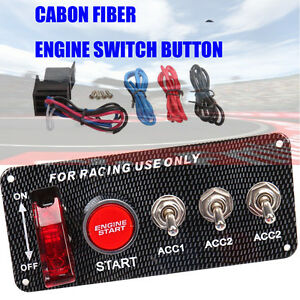 Racing-Car-12V-Red-LED-Toggle-Ignition-Switch-Panel-Start-Push-Button-Kit
