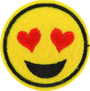 Details about 22182 Yellow Happy Face Emoji Smiley Heart Eyes Love  Embroidered Iron On Patch