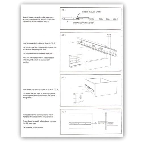 "20/"" Hickory P1050//20-C Full Extension Ball-Bearing Cabinet Drawer Slides 100-lb"