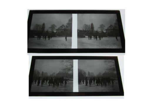 10 PLAQUES PHOTO NEGATIF STEREOSCOPE CANAL GELE ALSACE 1925 ILLKIRCH PATIN GLACE