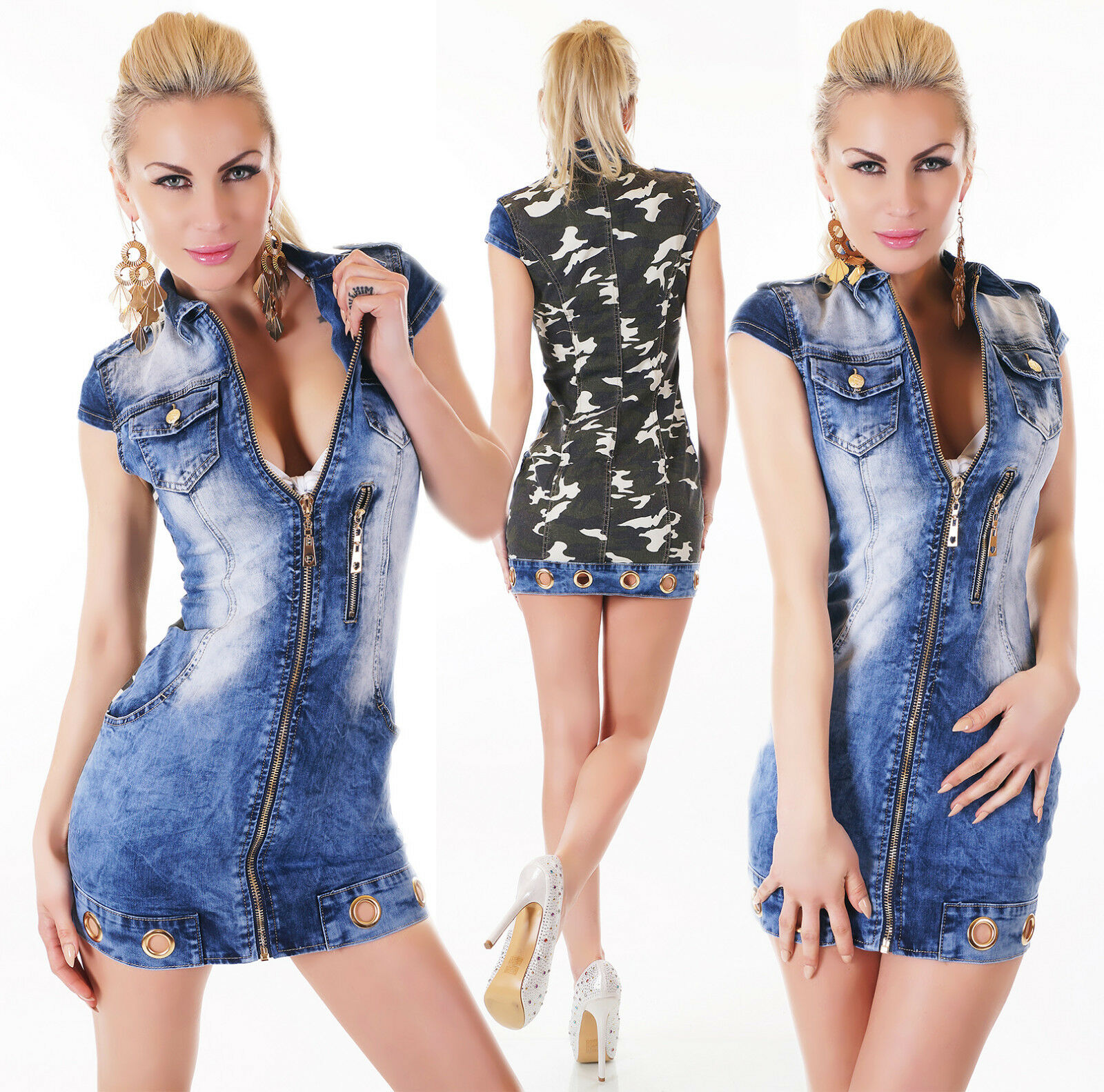 Sexy suit jeans dress double fabric bluee military short sleeve SIZE XS,S,M,L,XL