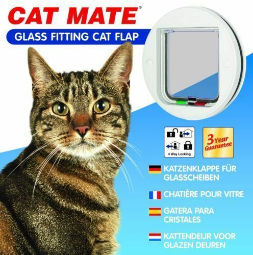 Petmate 4-Way Locking Glass Fitting Cat Flap, White