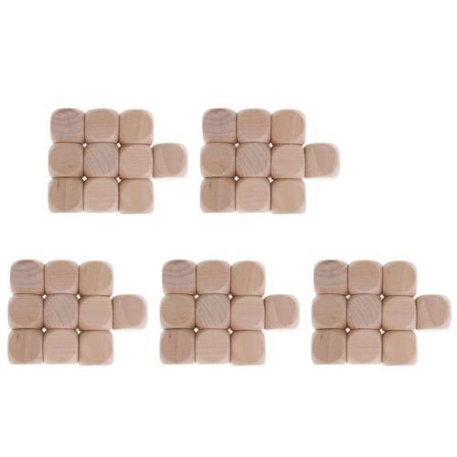 50PCS Wooden Craft Blank Dice Natural Wood Kids Art Craft Stacking Block 3cm