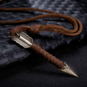 Men-Vintage-Leather-Arrow-Punk-Necklaces-Pendants-Body-Choker-Chain-Jewelry-Gift