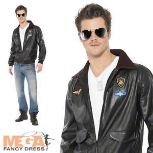 Men s Top Gun Bomber Jacket Fancy Dress Costume 1980s Adult Outfit ... 3957a2818