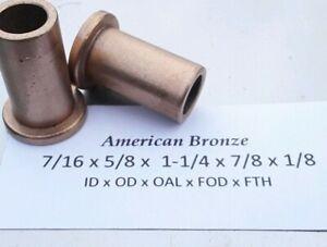 "Bronze Flange Bushing 3//8/""x 5//8/""x 3//4/"" American Bronze Qty 2pc MADE IN USA"