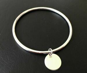 925-Sterling-Silver-Classic-Bangle-Bracelet-Disc-Circle-Charm-Golf-Engravable