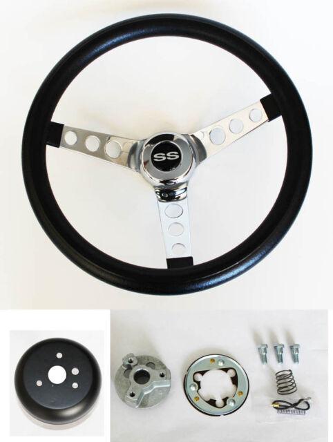 "New! Chevelle Camaro Nova SS Cap GRANT Black Steering Wheel 13 1/2"""