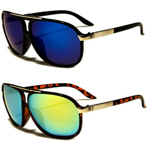 Aviator-Sunglasses-Vintage-Mirror-Lens-New-Men-Women-Fashion-Frame-Retro-Black