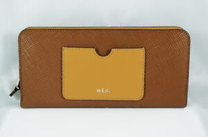 Lauren-Ralph-Lauren-LINDLEY-SNAP-CONTINENTAL-WALLET-in-BROWN-TAN-NWT-RP-128