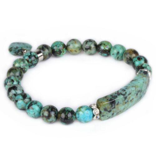 """Semi-precious gemstone beads Heart Charm stretch bracelet 7/"""""""
