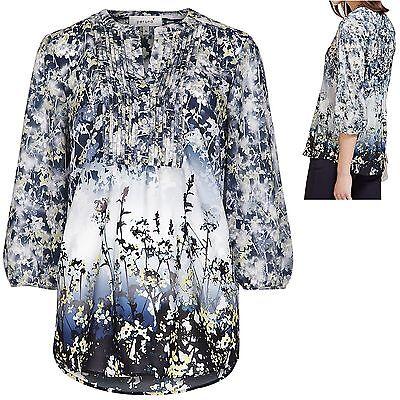Per Una M&S sz 8 Floral Tunic Blouse Pleat Front Part Button Grey Blue White New