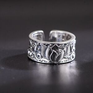 925 Solid Sterling Silver Ring Lotus Flower with Sutra Ring Band for Women 8-10