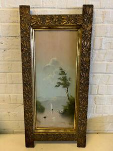 Antique Craie / Pastel Paysage Paysage Marin Dessin En Sympa Floral Décoré Cadre