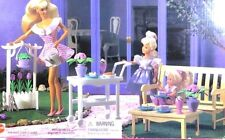 BARBIE DOLL1996 FLOWER GARDEN PLAYSET PARK BENCH AND COFFE TABLE CART FREE POOL