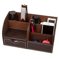 Home Desk Organizer Remote Control Holder Media Caddy Stationery Storage Box ...