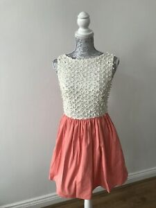 Miss-Selfridge-Peach-and-White-Dress-Party-UK-Size-10