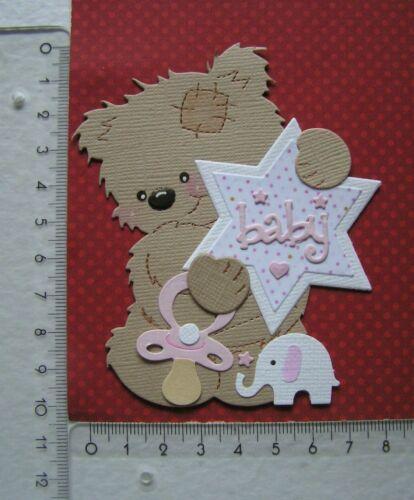 Mädchen Kartenschmuck Baby Geburt Scrapbooking Sticker  b1 Teddy Bär mit Stern