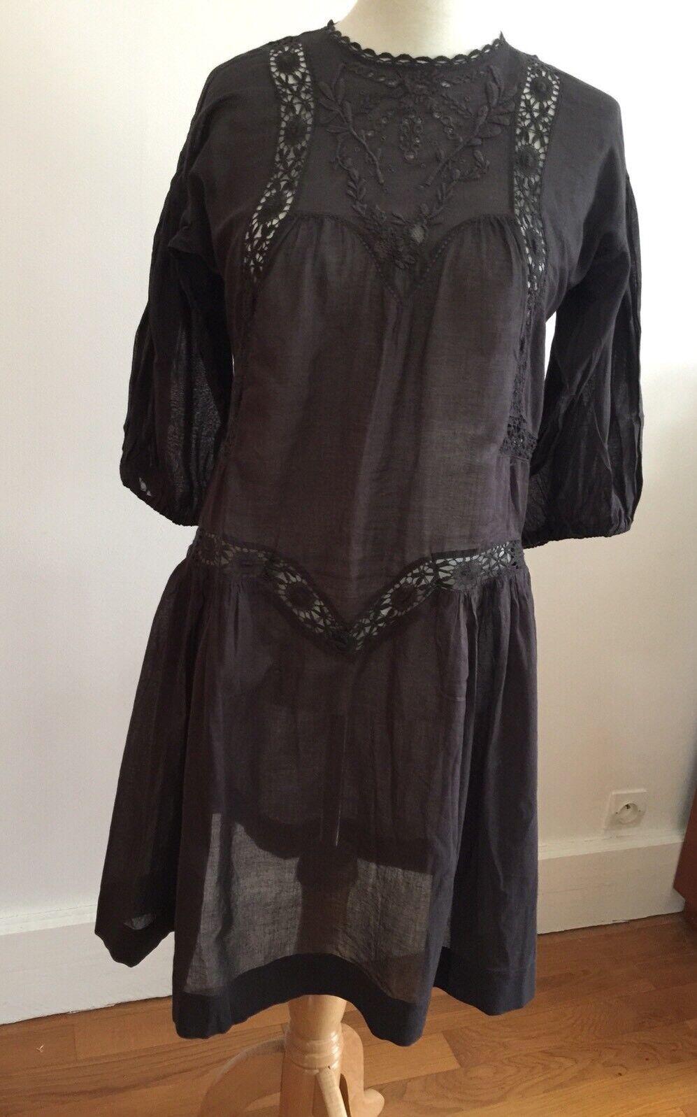 Isabel Marant Robe Tunique En Coton Et Broderies Größe 2