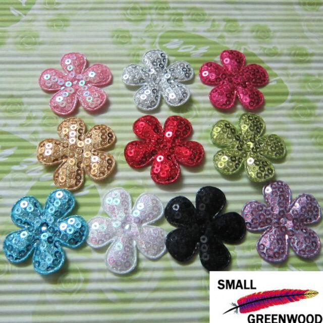 "(U Pick) Wholesale 50-500 Pcs. 1-3/8"" Padded Sequined Flower Appliques F1430B"