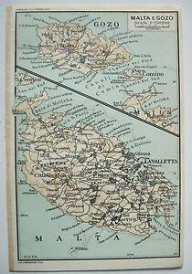 Cartina Di Malta Da Stampare.Stampa Antica Old Print Mappa Carta Pianta Isola Malta Gozo Comino 1930 C Ebay