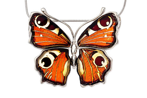 Baltic Amber Sterling Silver 925 Butterfly Pendant Necklace Jewellery Jewelry