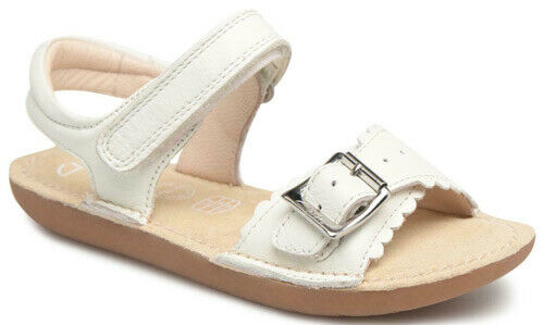 Clarks IVY BLOSSOM WHITE Girls Leather Air Spring Sandals 8-3 F Fit NEW BOXED