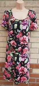 BRAVE-SOUL-Negro-Rojo-Verde-Floral-Vestido-Tunica-Smock-Te-Mariposa-Lycra-22