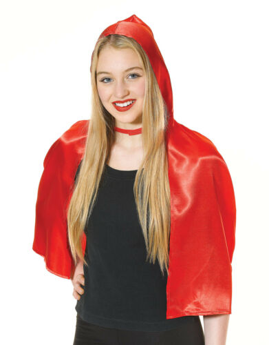New Short Ladies Soft Little Red Riding Hood Cape /& Hood Cloak Fancy Dress Adult
