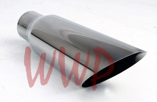 """Stainless Steel Weld On Angle Cut Exhaust Tip 2.5/"""" Inlet 3.5/"""" Outlet 12/"""" Length"""