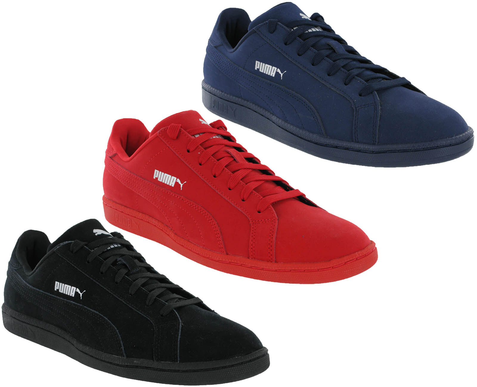 Puma Classic Trainers Smash Buck Mono Leather Lace Black, Red, Navy Mens