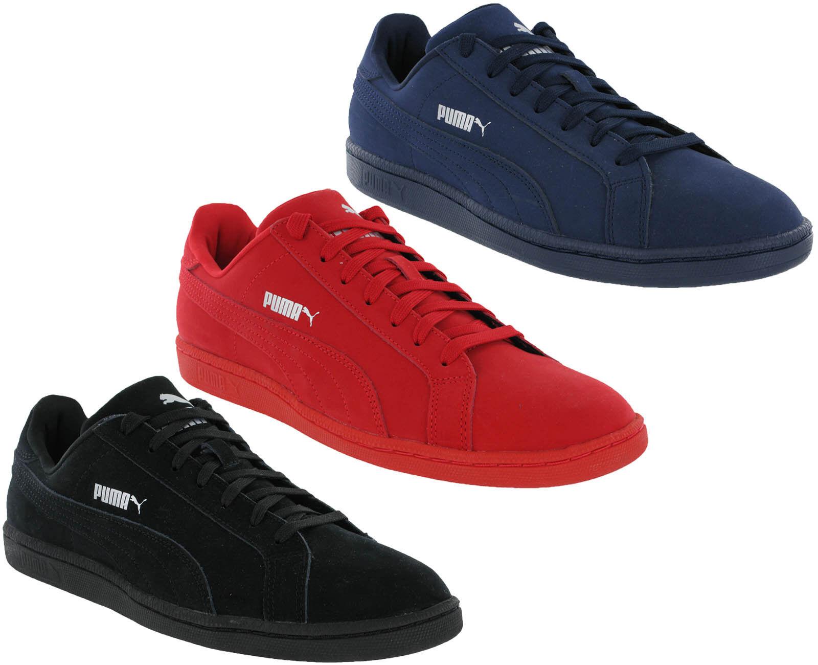 Puma Clásico Zapatillas Smash Buck Mono Cordón de Cuero Negro, Rojo, Marina Para Hombre