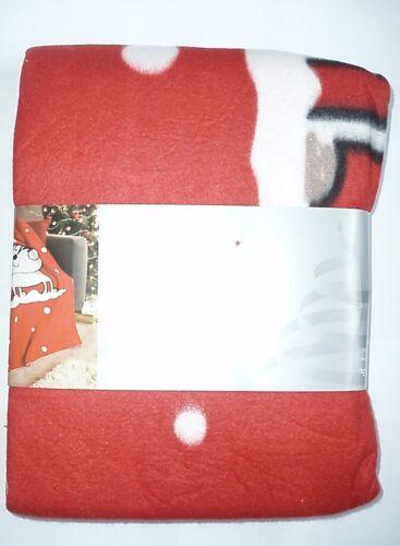 "50/"" x 60/"" Christmas Xmas Kitten Cat Red /& White Printed Fleece Blanket Throw"