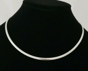 Necklace-omega-Flat-Stainless-Steel-Chain-4mm-Solid-18-inch-choker-silver-collar
