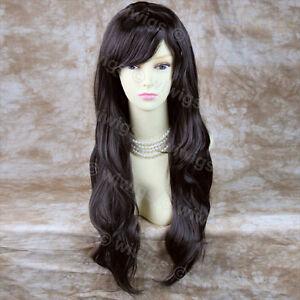 Stunning-Heat-Resistant-Long-Wavy-Dark-Brown-Ladies-Wig-Skin-top-BANGS-WIWIGS-UK
