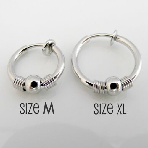 guys non-pierce hoop earrings Silver mens clip on earring with decorative bead