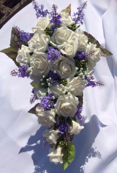 * Nuovo * Nozze Fiori Bouquet Della Sposa Doccia Ivory & Lavanda Con Gyp £ 35.00 Novel (In) Design;