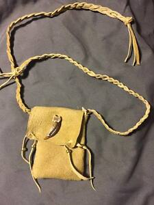 Image Is Loading Native American Medicine Bag Badger Claw Cherokee Leather