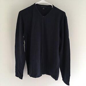 Banana-Republic-Mens-T-Shirt-Long-Sleeve-V-Neck-Size-M-Medium-Navy