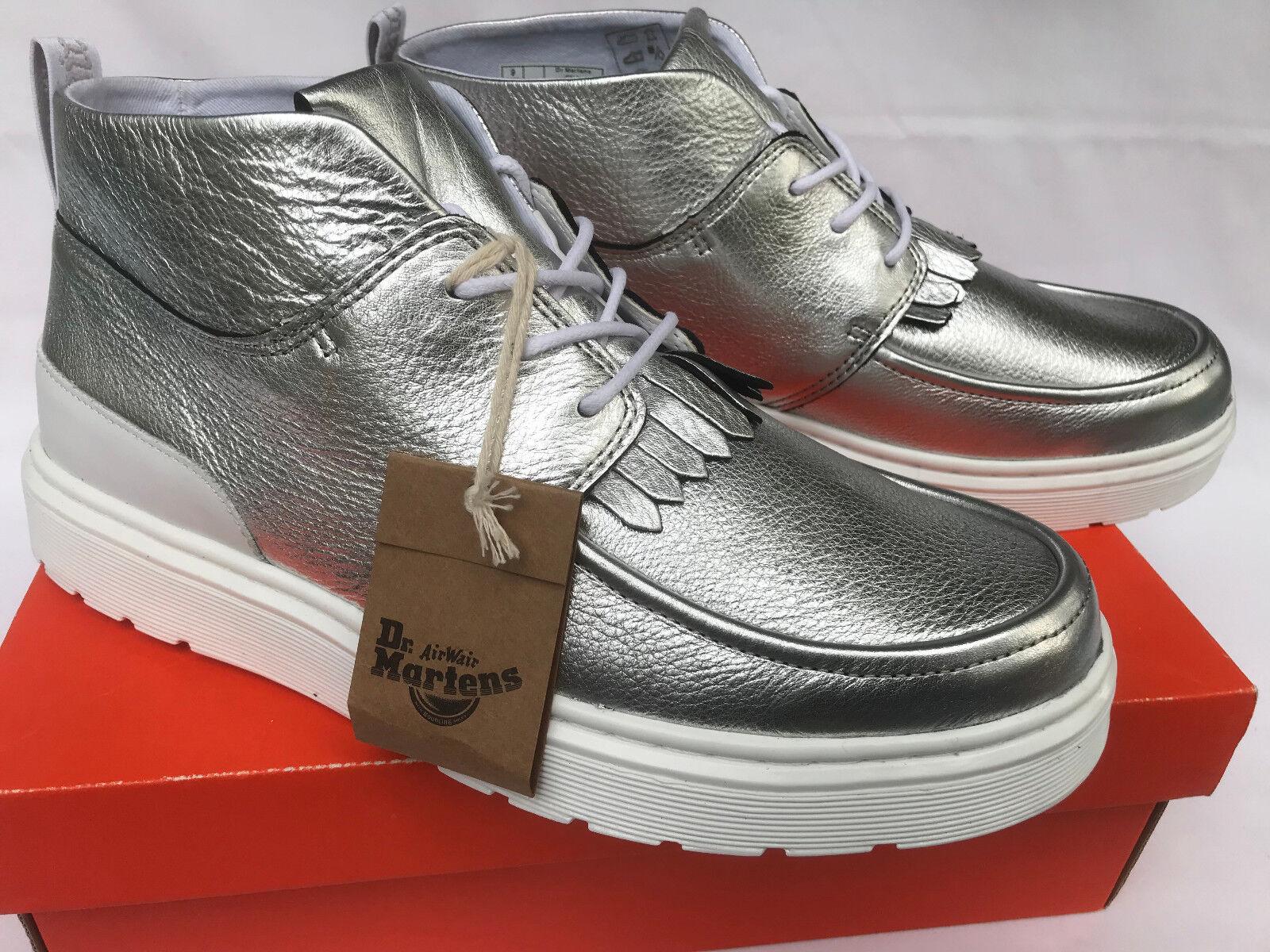 Dr. Martens Jemima Kiltie Chukka Mid Silver Leather Moc Boots shoes Women's 7