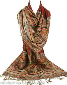 Women-039-s-Fashion-Win-Red-Pashmina-100-Cashmere-Wrap-Shawl-Paisley-Scarf-Stole