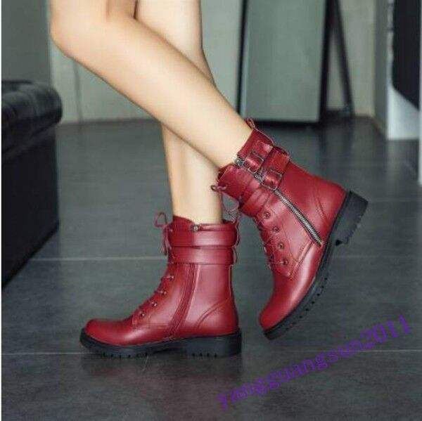 Hot Sale Women Ankle Short Boots Riding Motorcycle Lace Up Side Zip Faux Leather